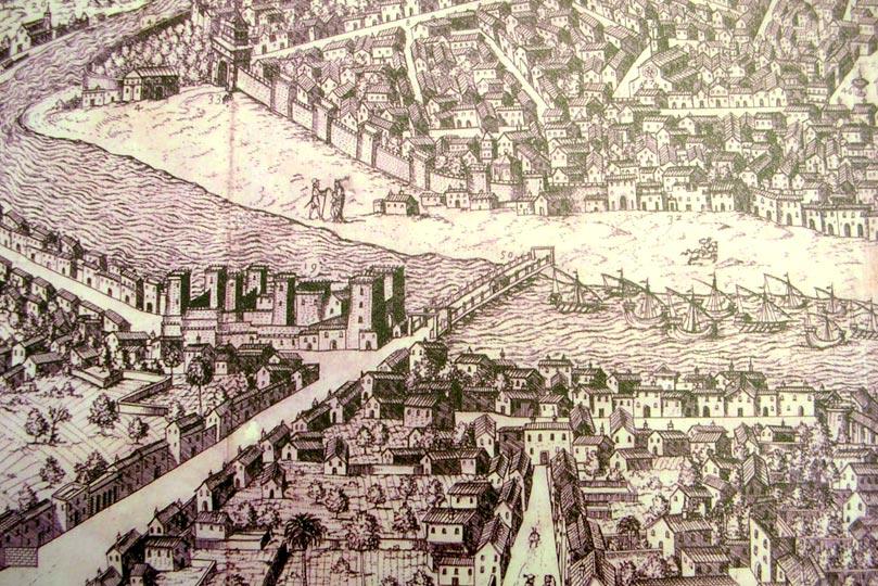Detalle de mapa antiguo de Sevilla